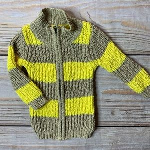 Peek zip front wide stripe cardigan 18-24 months
